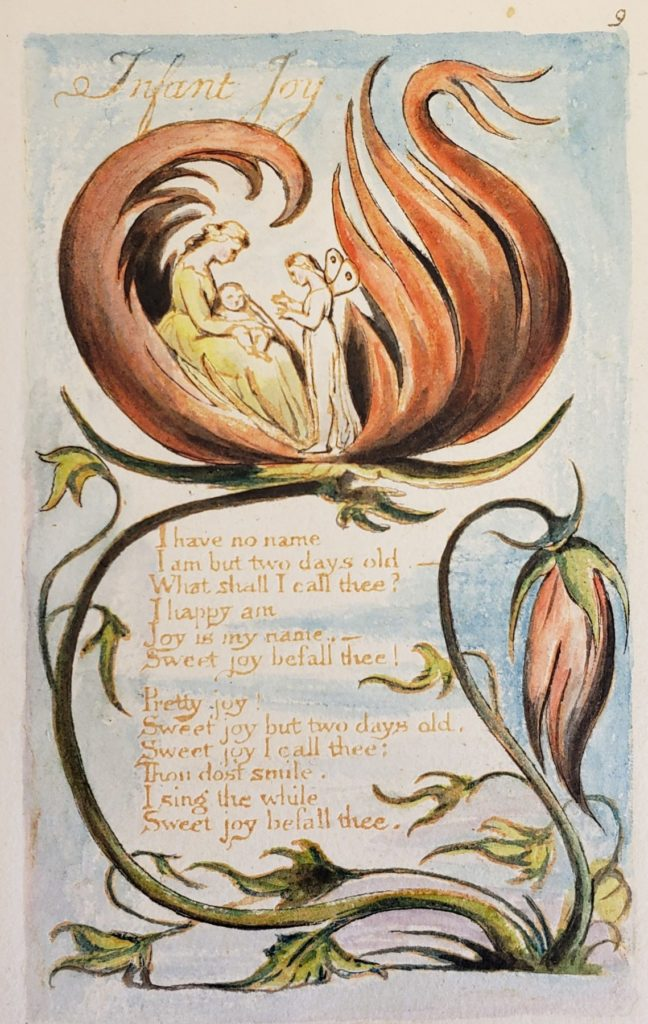 Illustration of a large flower unfurling with a woman and her infant inside