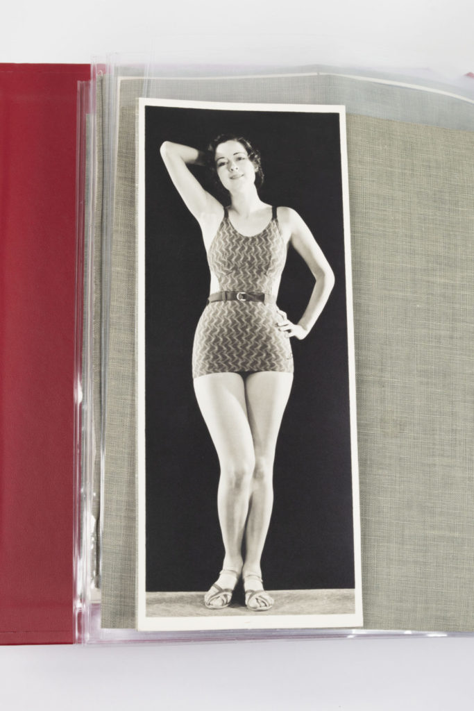 Model wearing 1930s Jantzen swimsuit