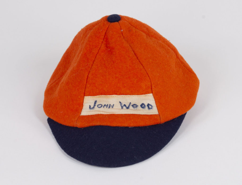 Orange and blue beanie