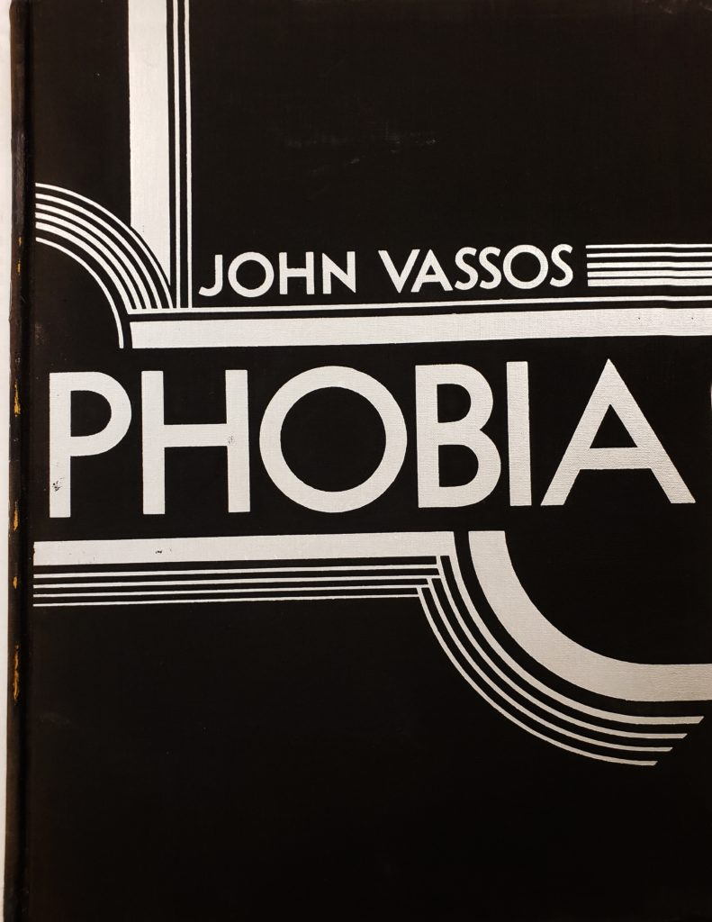 Black and white text with art deco designs stating John Vassos Phobia.