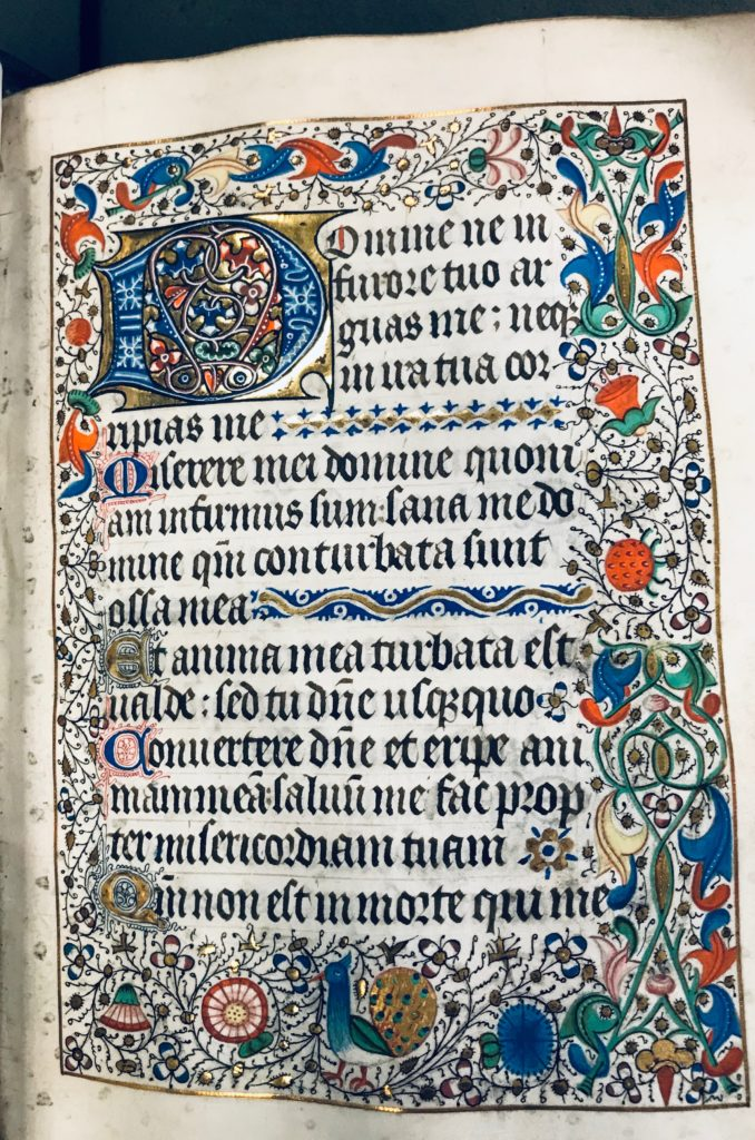 Red, orange, blue, green, gold, and pink designs of flowers, animals, and initials accompanying black Latin text on vellum.