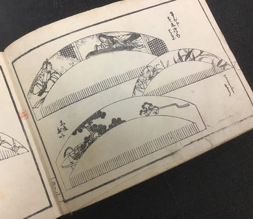 Woodblock prints of hair combs