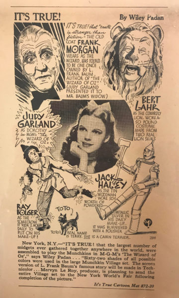 Brown paper with black text and an image of Judy Garland and cartoons about The Wizard of Oz.