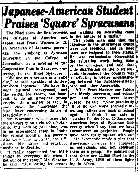 A 1943 Syracuse Herald-Journal article about Japanese-American students.
