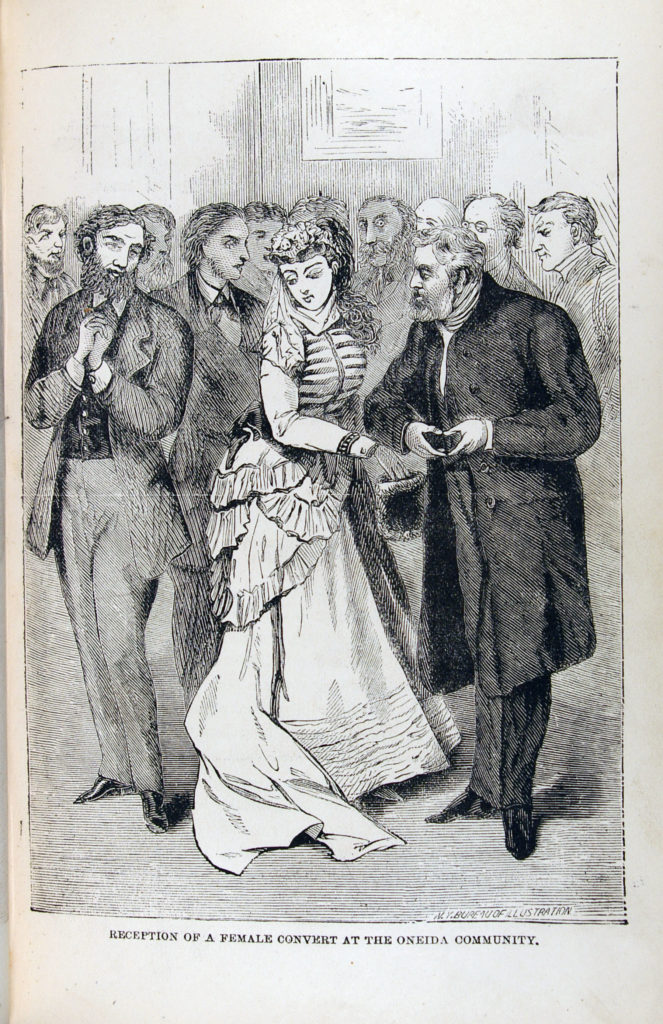 Cartoon of unattractive men surrounding attractive 19th century woman