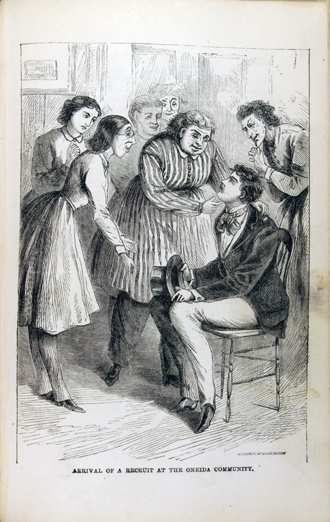 Cartoon of unattractive women surrounding attractive 19th century man