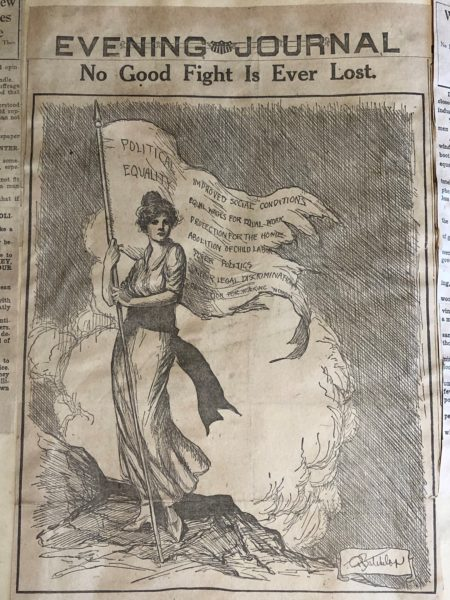 Political cartoon of woman holding flag
