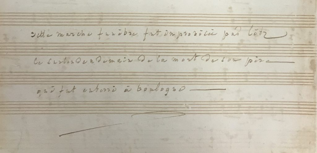 Note written in French about music piece.