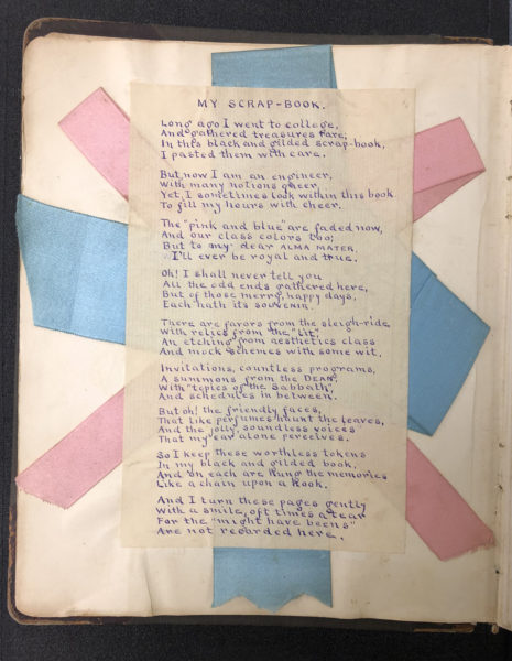 Handwritten poem over crisscrossed pink and blue ribbons.