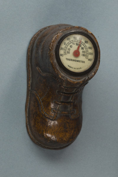 Boot with thermometer inside.