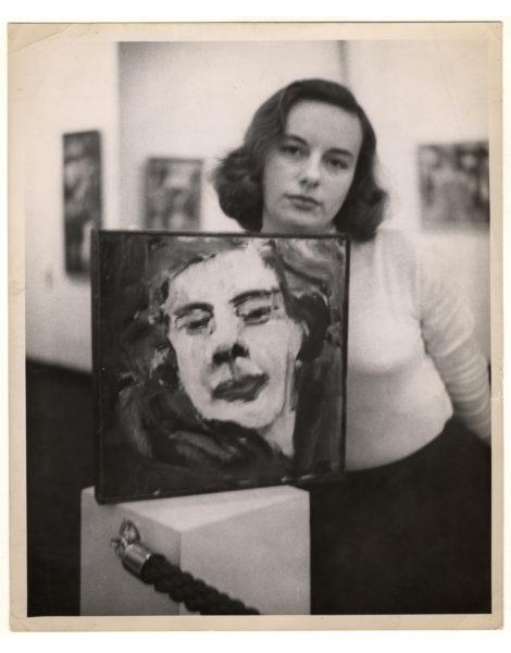 Grace Hartigan with self-portrait.