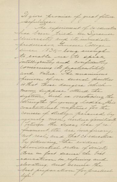 A handwritten transcript of Chancellor Sims' remarks