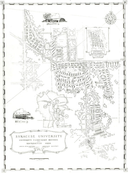Map of South Campus labeled Syracuse University 1949.
