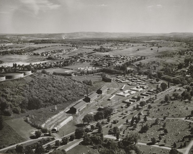 Aerial photograph of South Campus with temporary housing structures.