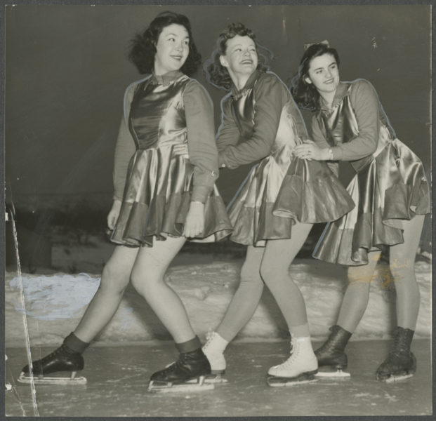 Trio of figure skaters in the Winter Carnival's Ice Review