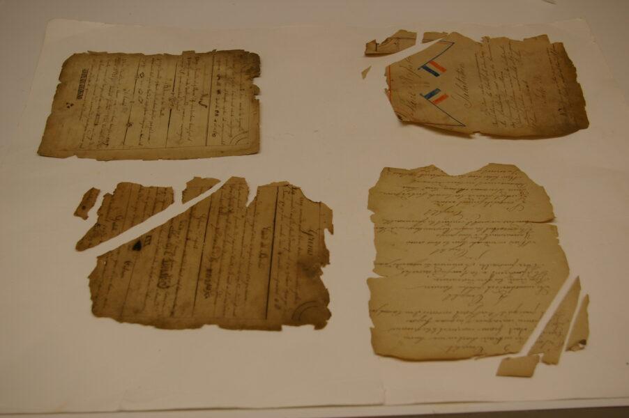 Damaged manuscript pages