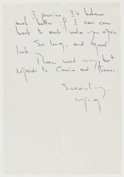 A handwritten letter from Ying Li to Marcel Breuer.
