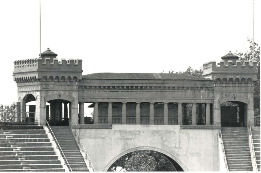 Exterior view of Archbold Stadium promenade over gateway arch.