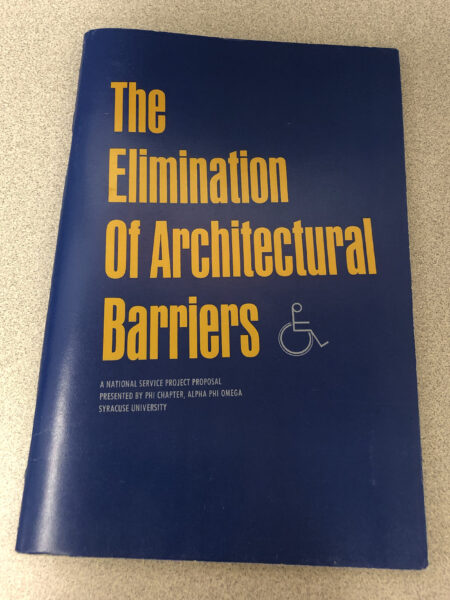 Blue pamphlet cover with yellow writing