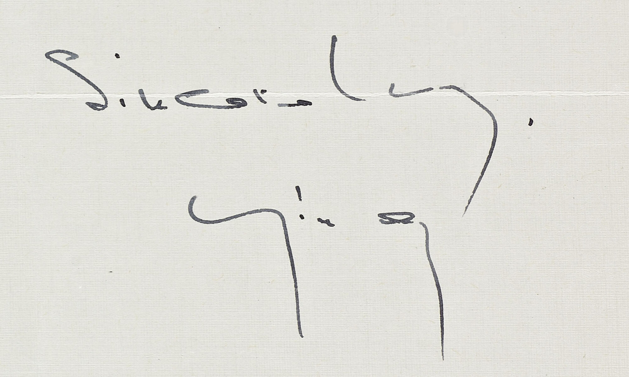 Letter signature on paper