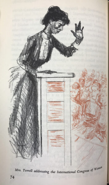 Illustration of woman standing at podium addressing an audience.