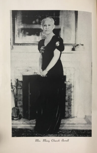 Black and white portrait of Mary Church Terrell in a black gown.
