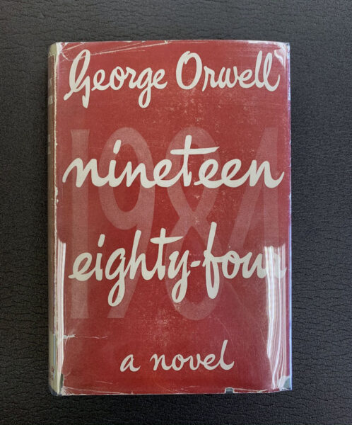 Red book cover of 1984 by George Orwell