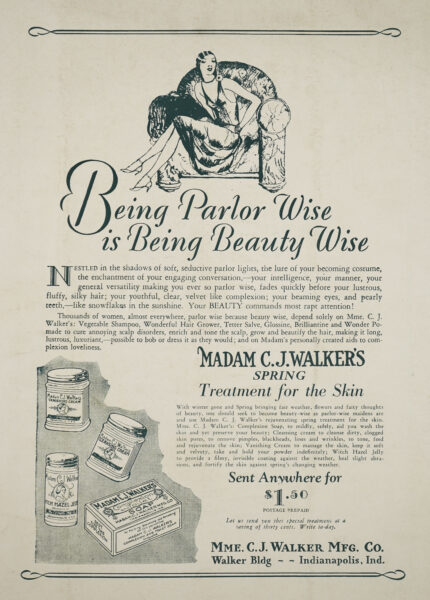 Illustrated advertisement for Madame C.J. Walker's beauty products