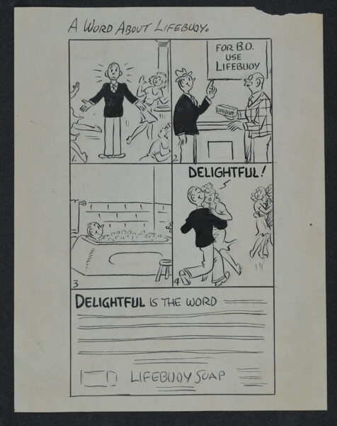 Square comic strip advertisement for LifeBuoy.