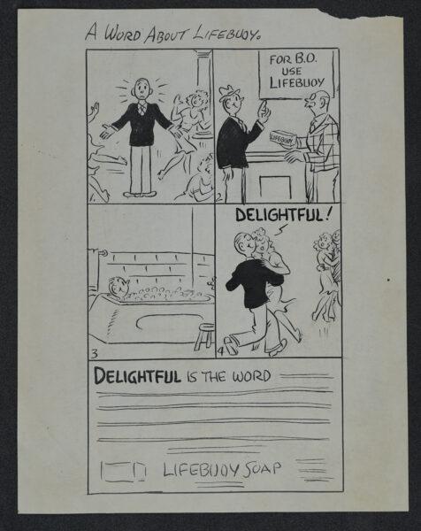 Square comic strip advertisement for LifeBuoy.