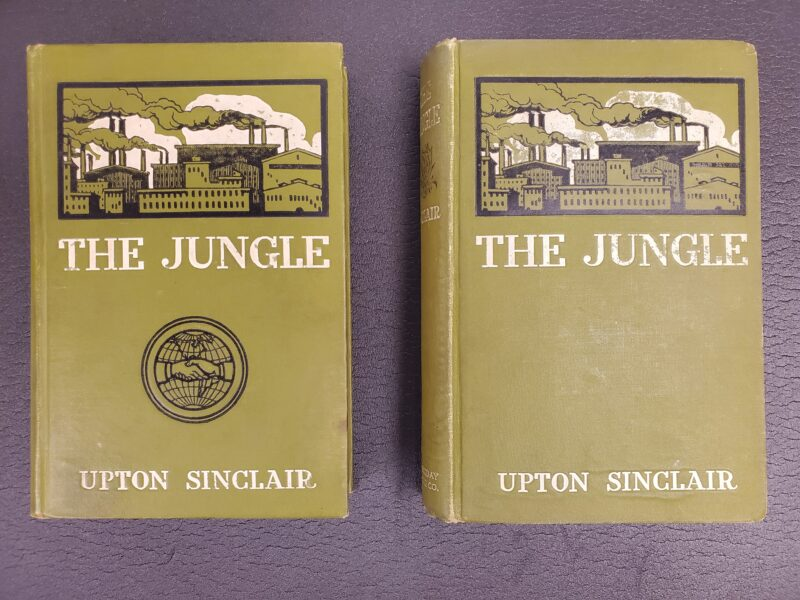 The Jungle (1906) by Upton Sinclair. The Jungle Publishing Company edition (left) and Doubleday, Page & Company edition (right).