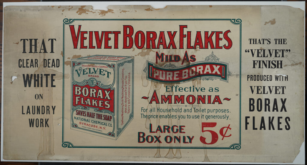 Advertisement for soap product Velvet Borax Flakes in red text on white background