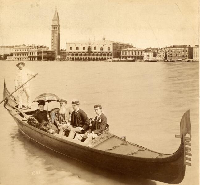 19th century photograph of people on gondola boat