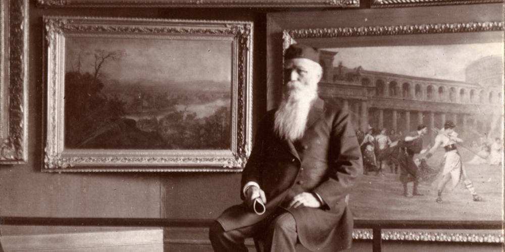 Older man in art gallery