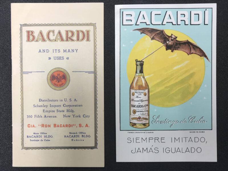 Bat Bacardi postcard and recipe book.