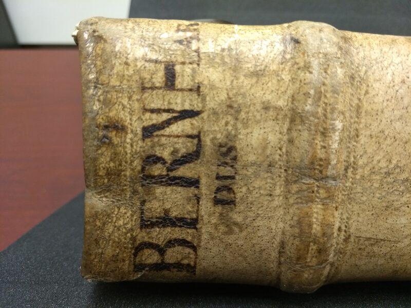 """Bernardus"" name on spine of book"