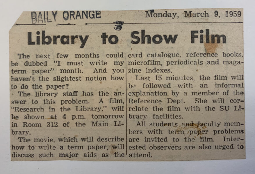 Newspaper clipping of library hosted event