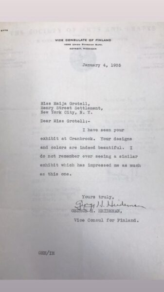 Letter from the Vice Consulate of Finland explaining his admiration for Grotell's designs.