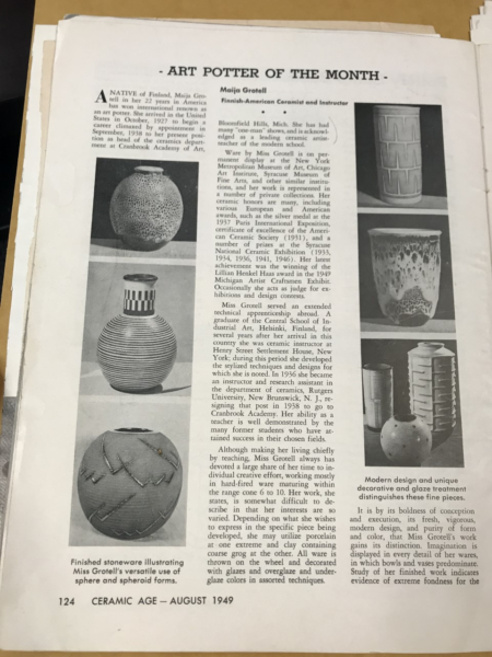 Page from an article with descriptive text and images of types of vases.