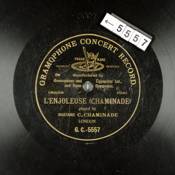 Gramophone and Typewriter Company record label, black with gold text. L'Enjoleuse by Madame Cecile Chaminade.