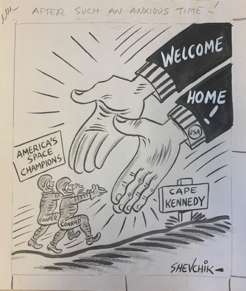 Cartoon of large hands reaching out to two people wearing space suits