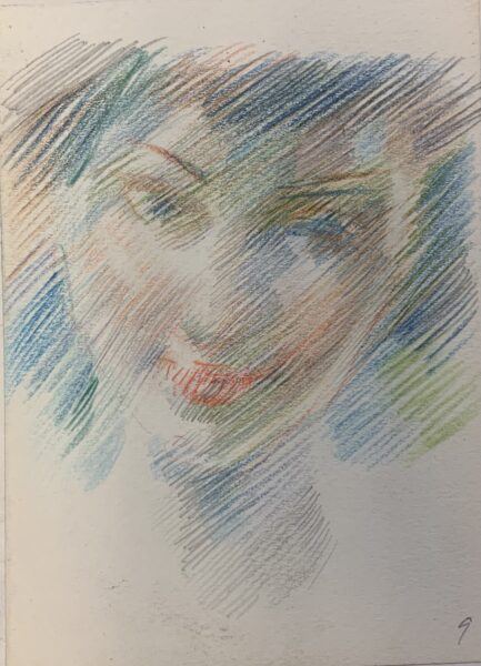 Colorful sketch of person's face