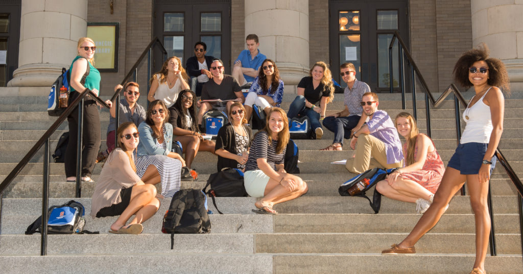 First year students standing on the steps of Carnegie Library