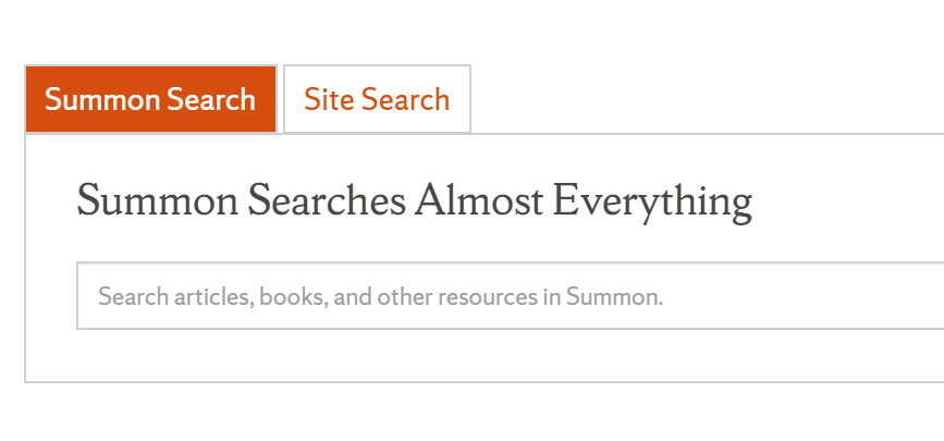 screen shot of Search bar on Libraries' website