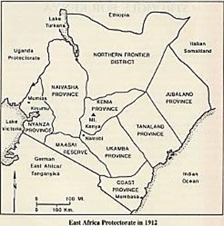 map of East Africa Protectorate in 1912