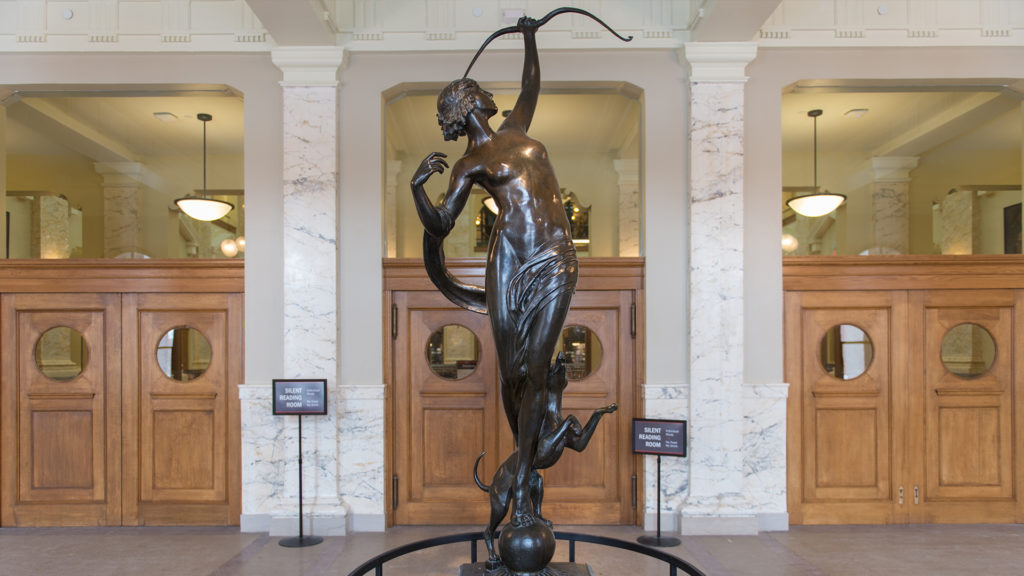 Bronze Diana the Huntress statue in lobby of Carnegie Library