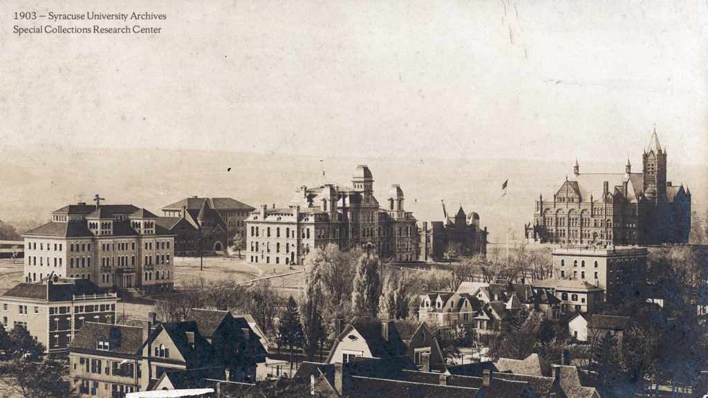 Panoramic view of Syracuse University campus, 1903 (Photo: Syracuse University Archives, Special Collections Research Center)