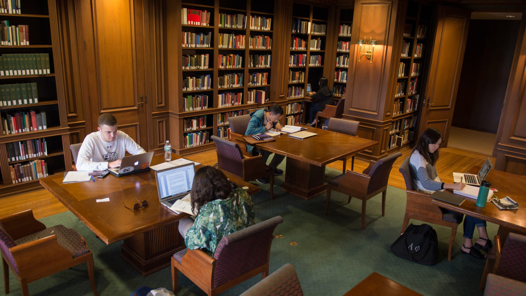 Students studying in the Safire Room, 6th floor Bird Library