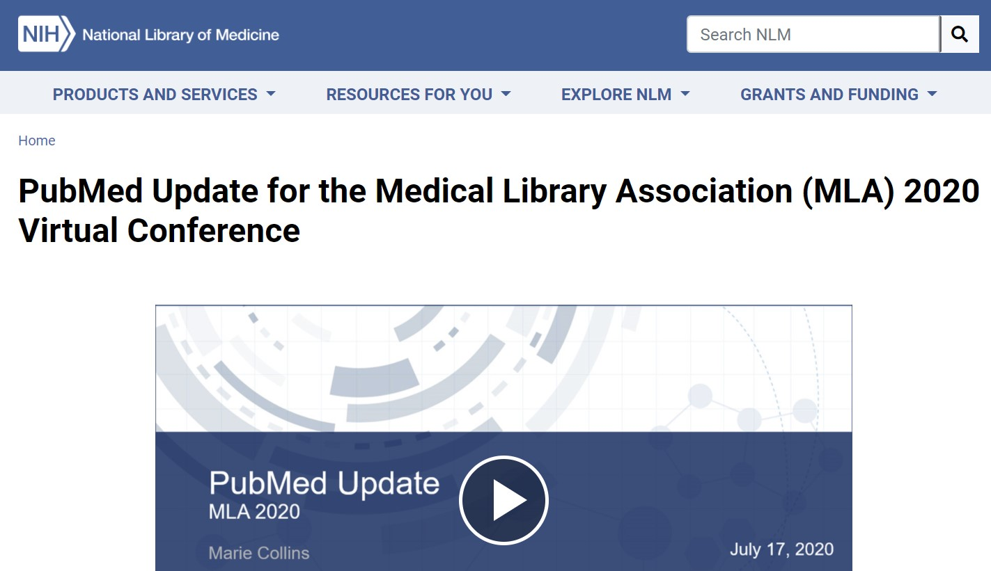 screen shot of National Library of Medicine website