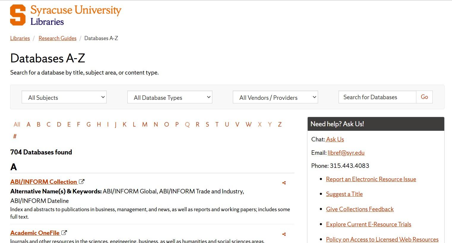 Databases A-Z website screen shot